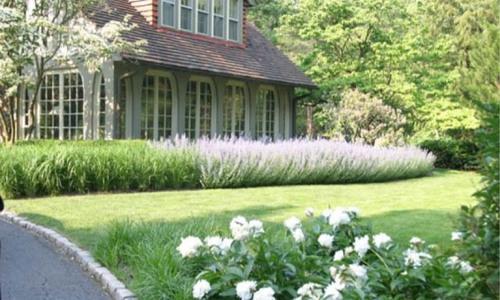 Передний двор с газоном